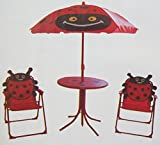 Childrens Garden Furniture Patio Set Table Chairs & Parasol - Red Ladybird Design