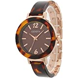Rosemarie Collections Women's Rose Gold Color Tortoise Shell Design Bracelet Watch