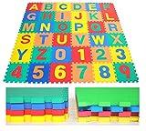 eWonderWorld 36Piece 12' Premium Thick Kids & Toddlers Interlocking Alphabet & Numbers Puzzle Foam Play Mat Floor Tiles