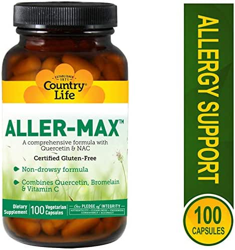 Country Life Aller-Max with Quercetin, Bromelain and Vitamin C, Immune Health, Non-Drowsy, Vegetarian Capsules, 100-count