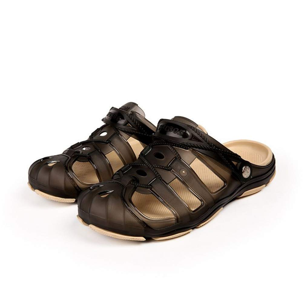 Brown QRETYSG flip flop New Men Male Summer Beach Slippers Hole Hollow Out Ventilating Men shoes Breathable Beach Sandals with solid Hot