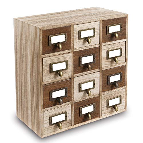 Ikee Design Wooden Storage Drawers with Metal Label Holders, 12 Drawers