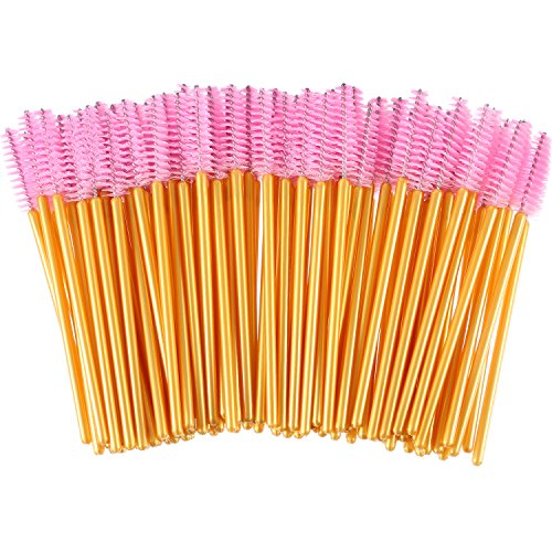 eBoot 300 Pieces Colored Disposable Mascara Wands Eyelash Eye Lash Brush Makeup Applicators Kit (Gold Handle, Pink Head)
