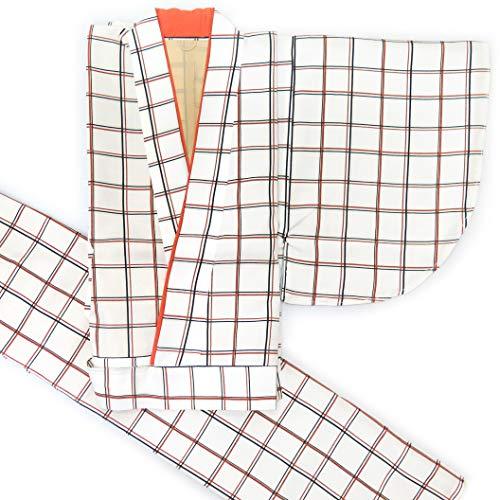 二部式着物 洗える着物 袷 単品 小紋柄の着物 Mサイズ「アイボリー 格子」HANM1820