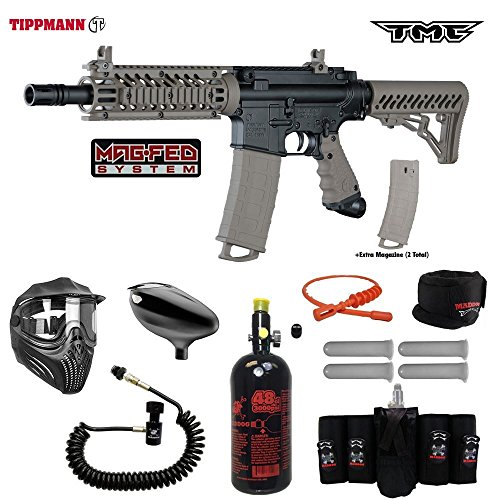 Tippmann TMC MAGFED Elite Remote HPA Paintball Gun Package - - Paintball Mask Thermal Elite