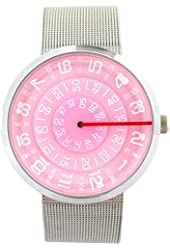 YouYouPifa Unisex Special Design Dial Stainless Steel Quartz Business Wrist Watch (Pink)