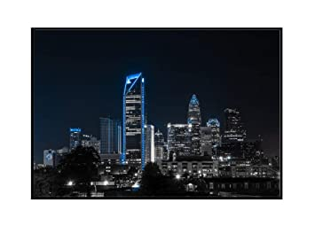 Charlotte NC City Skyline Picture Framed Panorama 3