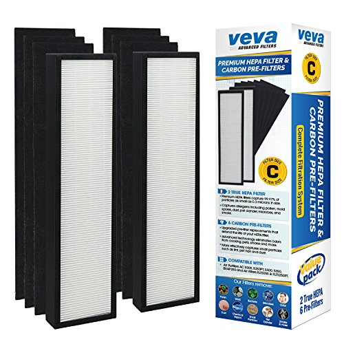 VEVA Premium True HEPA Replacement Filter 2 Pack Including 6 Carbon Pre Filters compatible with Air Purifier AC5000 Series and Filter C (Charcoal Filter Series)