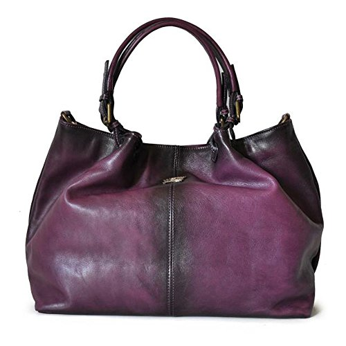 Shoulder Hobo Bucket Leather Bag Purple Violet Pratesi Aged Handbag Italian xHwSvTqY