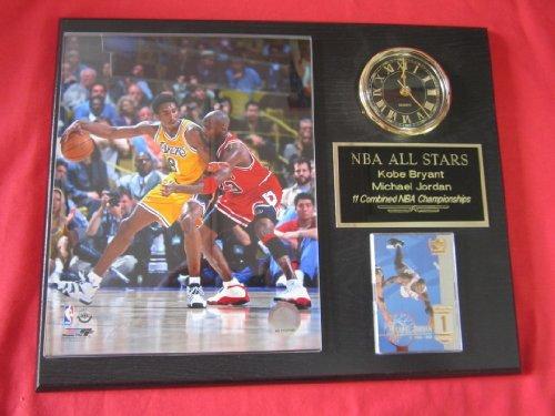 Kobe Bryant Michael Jordan Collectors Clock Plaque w/8x10 Photo and Card