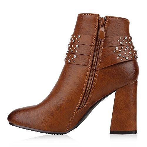 Stiefelparadies Damen Stiefeletten High Heels Transparente Schuhe Blockabsatz Lack Flandell Hellbraun Nieten