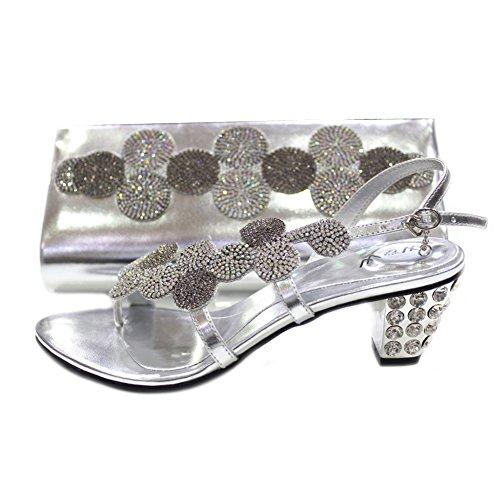 W&W Damenschuhe und passende Tasche mit Kristall-Strass, für Hochzeit ( Mizra&Paras) Silber