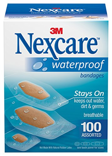 Nexcare Waterproof Clear Bandages Assorted Sizes, 100 Bandages