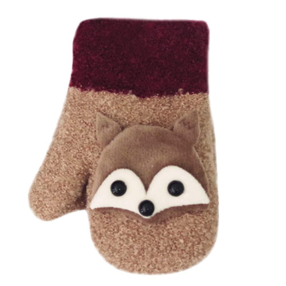 Baby Cartoon Gloves MALLOOM Toddler Girls Boys Thicken Stitching Winter Warm Straps Gloves Mittens