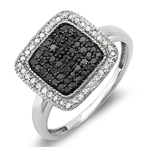 - Dazzlingrock Collection 0.50 Carat (ctw) Sterling Silver Round Black & White Diamond Ladies Cocktail Ring 1/2 CT, Size 7