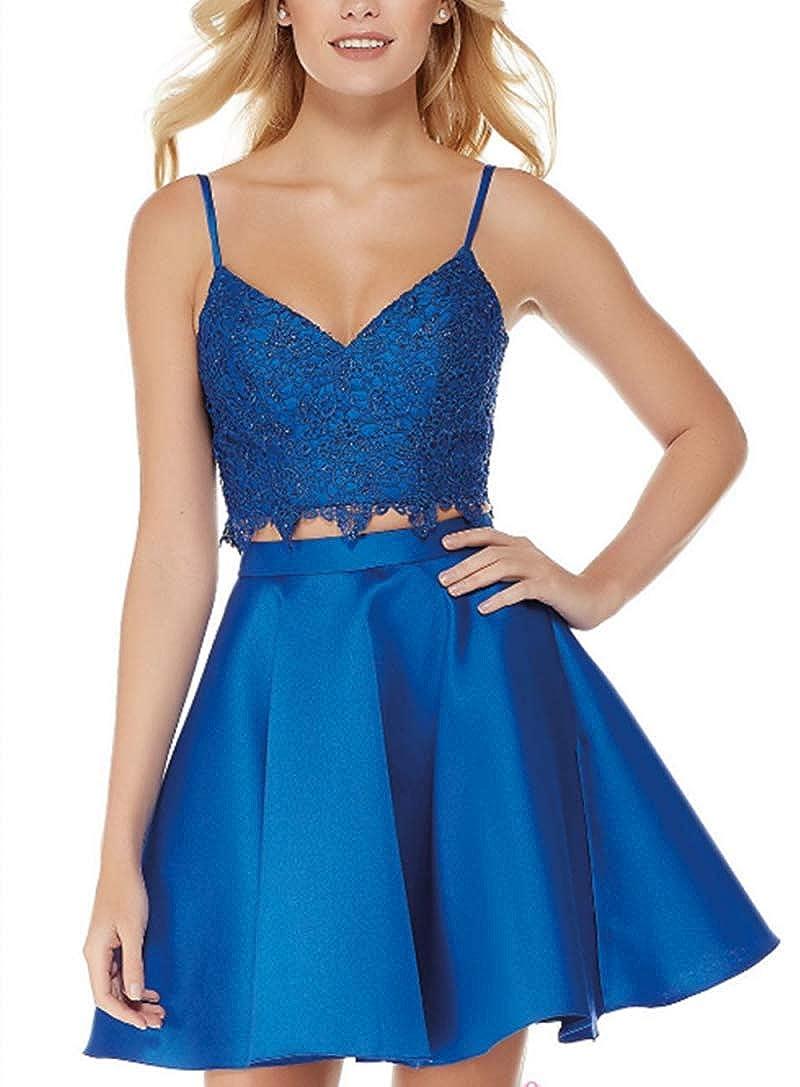 bluee EverBeauty Womens Short Sleeveless Two Piece Homecoming Dress Lace Satin Prom Dress