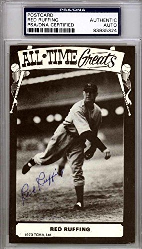 Red Ruffing Autographed 1973 TCMA All Time Greats Postcard Yankees 83935324 PSA/DNA Certified MLB Cut Signatures