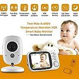 OLDF Temperature Baby Monitor,3.2inch Wireless Video Smart IR Babysitter Two-Way Talk Nanny Radio Cam Night Vision 8 Lullabies