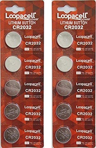 [ 10 pcs ] - Loopacell Cr2032 3v Lithium Coin Cell Battery Dl2032 Ecr2032 (Pack of 10)