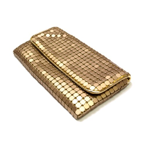 Gold Matte Handbags - Chic Lightweight Metal Mesh Flap Clutch Evening Bag, Gold