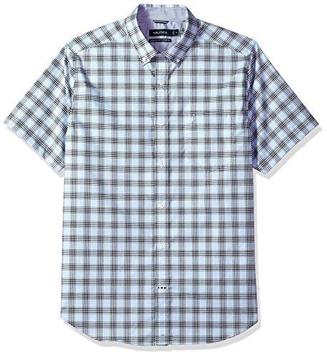 Nautica Mens Wrinkle Resistant Short Sleeve Plaid Button Down Shirt