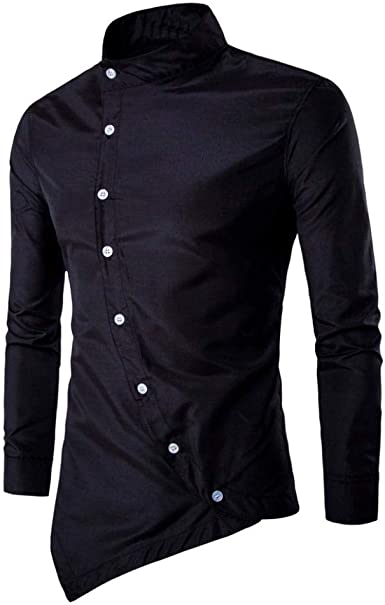 Mfasica Mens Button Long Sleeve Stand Collar Loose Casual Top