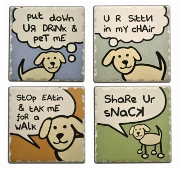 Dog Speak 4 Absorbent Stone Coasters, 1753 Dog Speaking Set