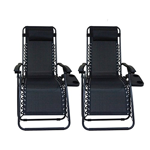 Cheap CASUN GARDEN Zero Gravity Chair Reclining Patio Chairs with Tray Set of 2, Black