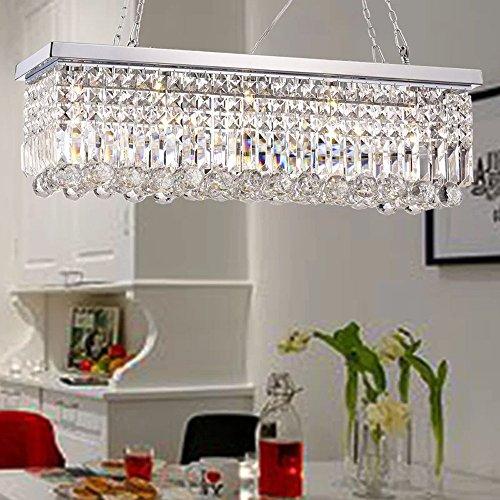 Faceted Swarovski Crystal Satin (Rectangle Clear K9 Crystal Chandelier Pendant Lamp Lighting Fixture 5 Lights for Dining Living Bedroom Room - Black/Brown Frame 30