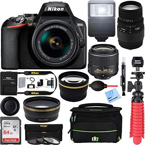 Nikon D3500 24.2MP DSLR Camera (1590) + (18-55mm VR 70-300mm SLD DG Sigma Lens Package, Black) + Bundle 64GB SDXC Memory + Photo Bag+Wide Angle Lens + 2X Telephoto+Flash + Tripod + Filters