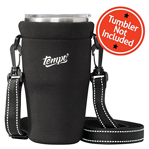 Tumbler Carrier Holder Pouch For All 30oz. Stainless Steel Travel Insulated Coffee Mugs, Neoprene Black Sleeve Accessories, Light Hand Free Bag, Protective, Washable, Adjustable Strap, Shoulder Sling ()