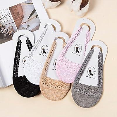Maivasyy 5 paires de chaussettes Femme Chaussettes Bateau High-Heeled Bracelet dentelle section fine de l'avant l'avant-pied anti-dérapant Chaussettes Super furtif, 5 couleurs