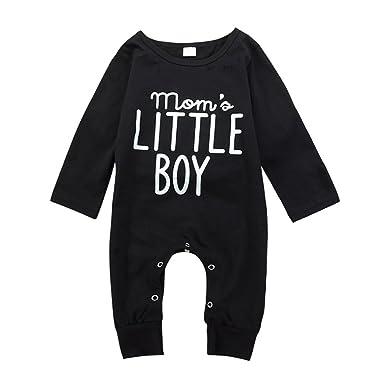 limitierte Anzahl kauf verkauf geeignet für Männer/Frauen Brightup Baby Junge Langarm Spielanzug Overall mit Knöpfen Frühjahr Herbst  Outfit Kleidung, Mom's Little Boy Gedruckt Overall