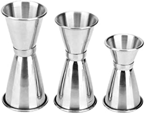 WSERE Cocktail Jigger, Set of 3 Stainless Steel Double Jiggers Bar Jigger Set, 1 & 2 oz - 3/4 & 1 1/2 oz - 1/2 & 1 Oz Double Sided Silver Jigger