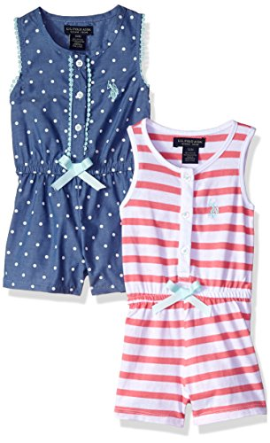 U.S. Polo Assn. Baby Girls, Pack Stripes Printed Romper Camellia Rose, 24M