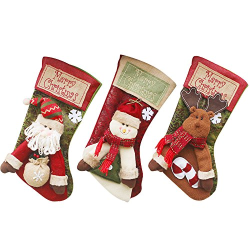 Stocking Embroidery Design (JUN-Q (3 Pack) Classic Christmas Stockings 18