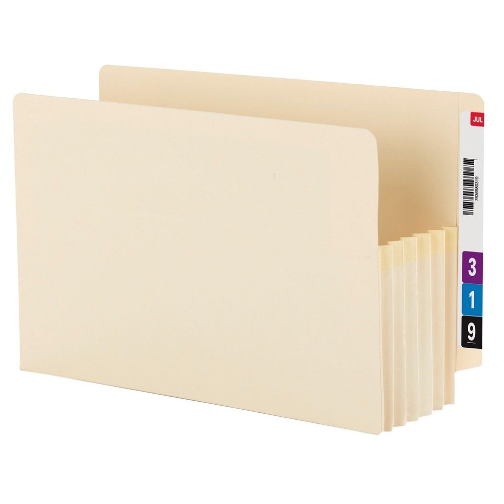 Smead End Tab File Pocket, 5-1/4-Inches Expansion, Reinforced Tab, Legal Size, Manila, 10 Per Box (76134)