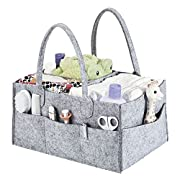 Baby Diaper Caddy, Nursery Storage Bin for Changing Table, Boys Girls Diaper Storage Bin, Large Portable Car Organizer for Infant, Perfect Baby Shower Gift, Newborn Registry Must Haves (Grey)