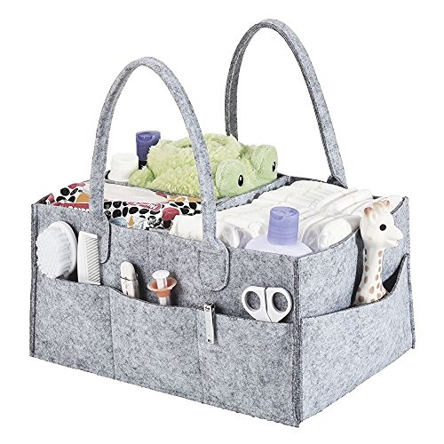 Price comparison product image FLYMEI Baby Diaper Caddy - Portable Diaper Storage Caddy and Car Organizer Nursery Storage Bin with Changeable Compartments for Diapers and Baby Wipes,  Durable,  Light Weight,  Larger Capacity (Grey)
