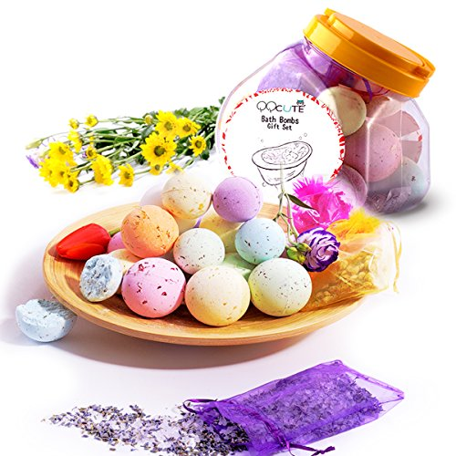 QQCute Bath Bombs Kit Best Family Spa Set, Pack of 18 Bath Fizzies with Natural Ingredients for Moisturizing Dry Skin, Including 3 Organic Dried Flower Petals Bags, Add to Bubble Bath by QQCute