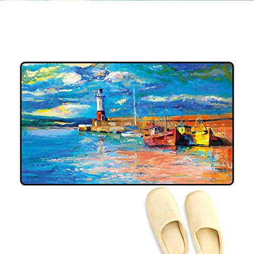 (Bath Mat Oil Painting Tones Style Lighthouse and Boats on Sea Shore Town Coastal Charm Picture Door Mat Increase Multicolor 20