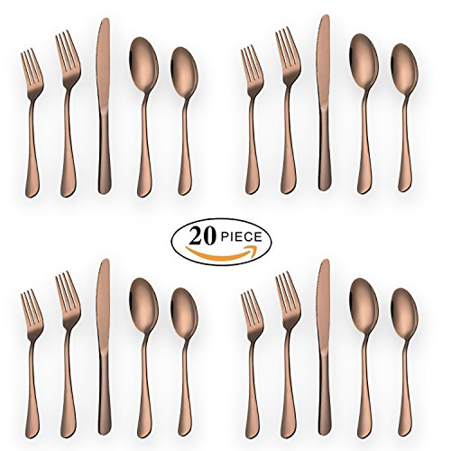 Baking Days Green Dinnerware - HOMQUEN 20-Piece Copper Color Set Service for 4, Stainless Steel Knives Forks Spoons Cutlery Set, Rose Gold Plated Tableware Set Dishwasher Safe(Rose Gold - 20 Piece)
