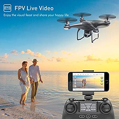 GPS Drone with Camera Live Video 1080P HD FPV RC Quadcopter Drones with Camera Follow Me Mode, Altitude Hold, Long Range Control, GPS Auto Return Home - BEEYEO Dark Grey: Toys & Games