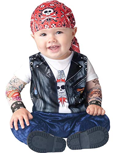 InCharacter Baby Boy's Born To Be Wild Biker Costume, Black/Red, X-Small