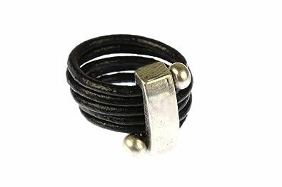 Miniblings Lederring Fingerring Ring Gewickelt Lederband
