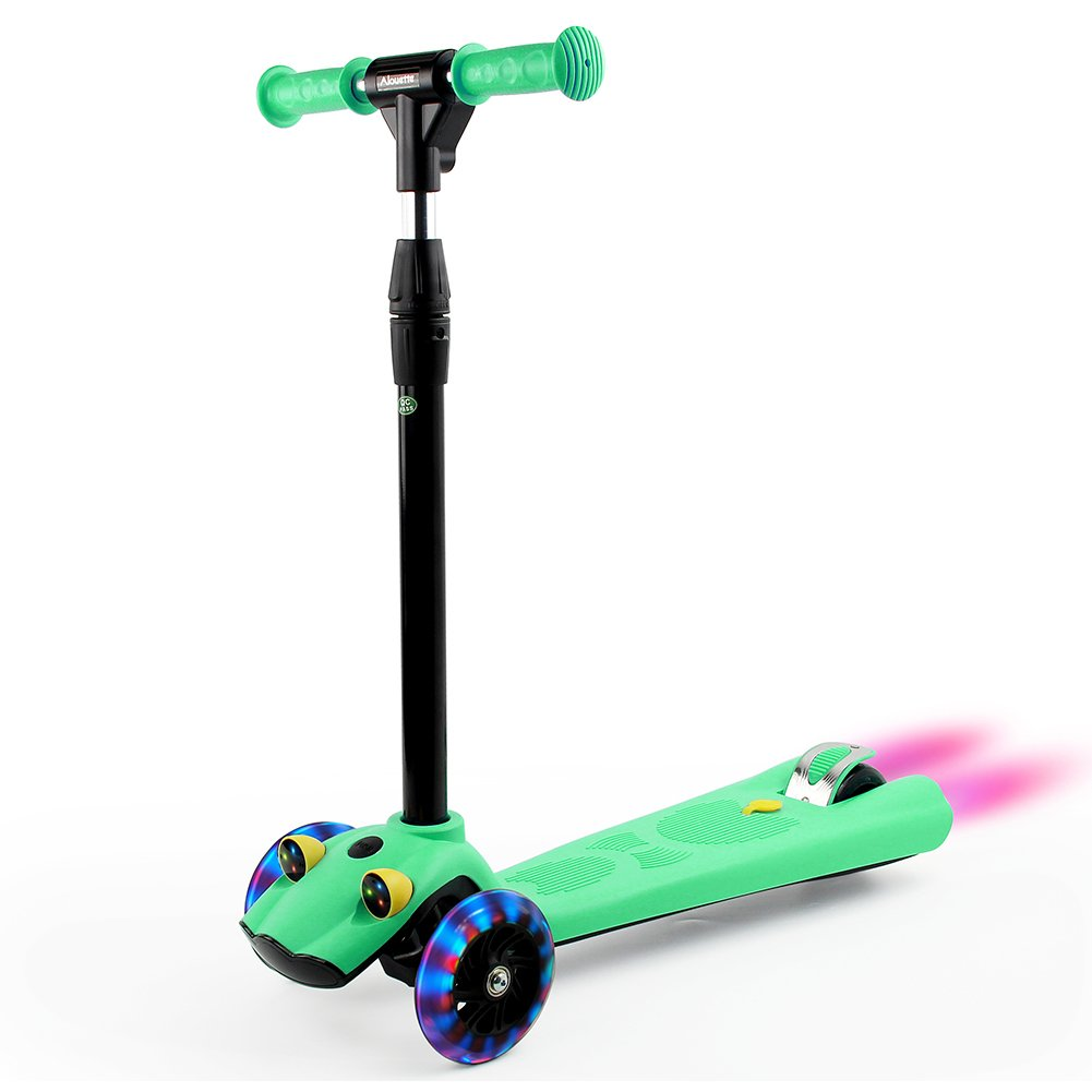 ALOUETTE 3 Wheels Kick Scooter for Kids, Kids Scooter with Adjustable Handle, LED Light-up Wheels, Sprayer for Boys&Girls