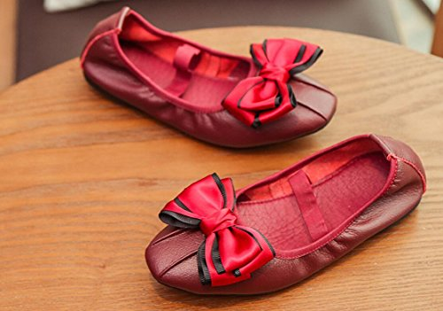 Girls Flats Bow Dolwins Shoes Dress Foldable Slip Ballet On Red dBBOqw