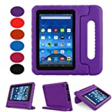 Fire 7 2015 Case-Lumcrissy Shockproof Case Light Weight Kids Super Protection Cover Handle Stand For Amazon Kindle Fire 7 inch Tablet (5th Generation-2015 Release Only) (Purple)