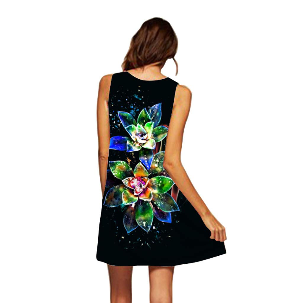 EOWEO Dress for Women Elegant,2019d Women Summer Sleveless Boho Print Casual Beach Vintage Fashion Short Mini Dress(Medium,Black) by EOWEO (Image #2)