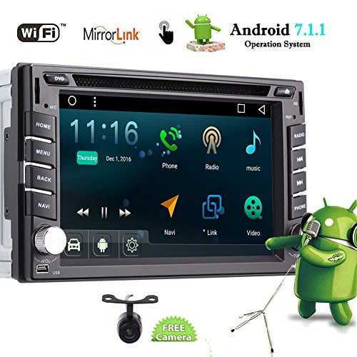 EINCAR Android 7.1 Car Stereo Double Din Car DVD Player Autoradio Video FM/AM Radio with Bluetooth in Dash GPS Navigation Support Mirrorlink USB SD Backup Camera 6.2 inch 5-Points Touch Screen